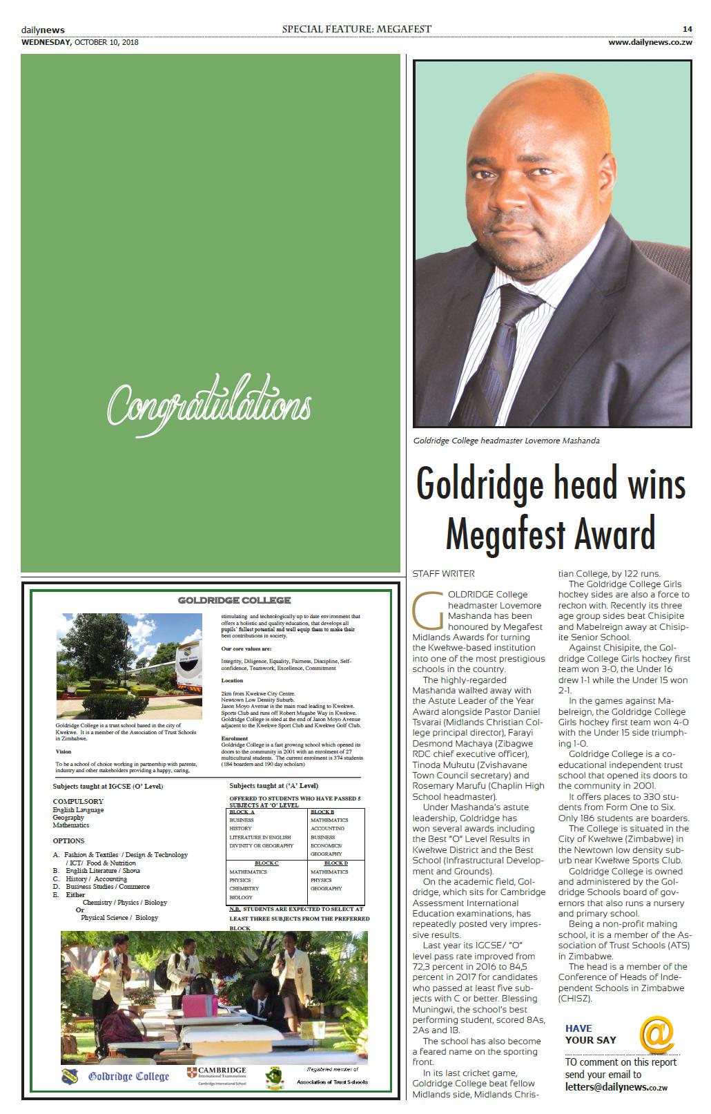 MegaFest Award | Goldridge College | Zimbabwe (Kwekwe)